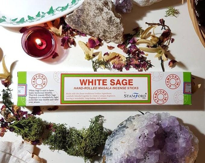 Featured listing image: Box of fourteen stamford White Sage incense sticks