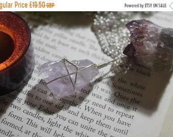 Wire wrapped raw Rose Amethyst necklace