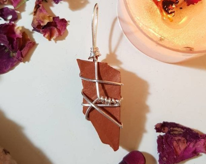 Wire wrapped Red Jasper pendant