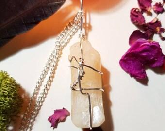 Large Stilbite necklace - Crystal necklace - Stilbite - Inner peace