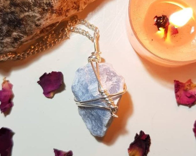Angelite necklace - Angelite - Crystal necklace - Calm
