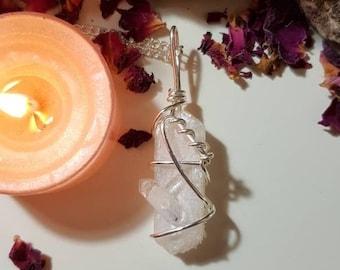 Stilbite necklace with Apophillite - Crystal necklace - Stilbite with Apophillite