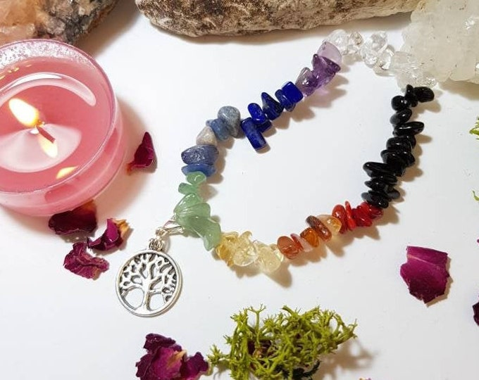 Featured listing image: Tree of Life Chakra bracelet with grounding and protecting Black Tourmaline and Crystal amplifying Clear Quartz
