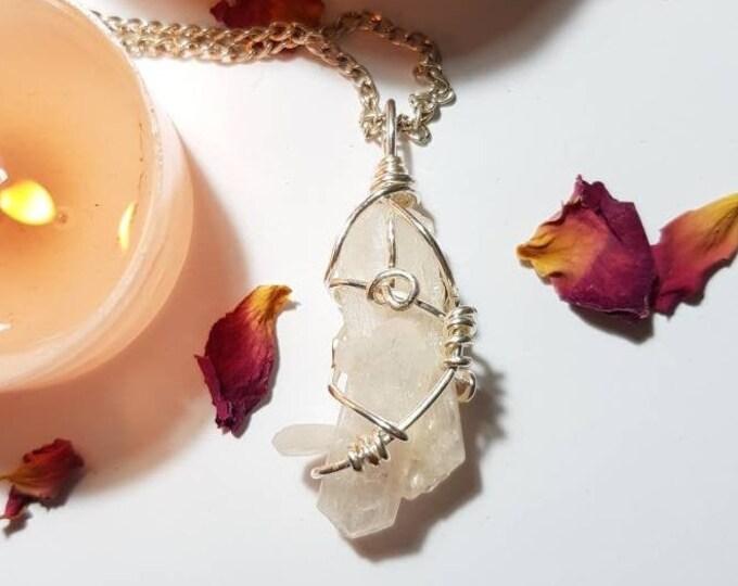 Stilbite necklace - Stilbite - Crystal necklace - Calm - Grief