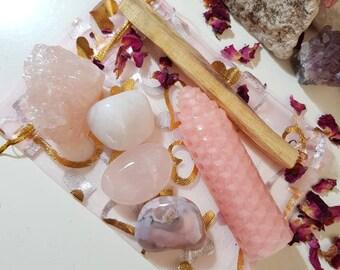 Love spell kit - Spell kit - Self love - Pink crystal kit - Crystal kits - Starter crystal kit