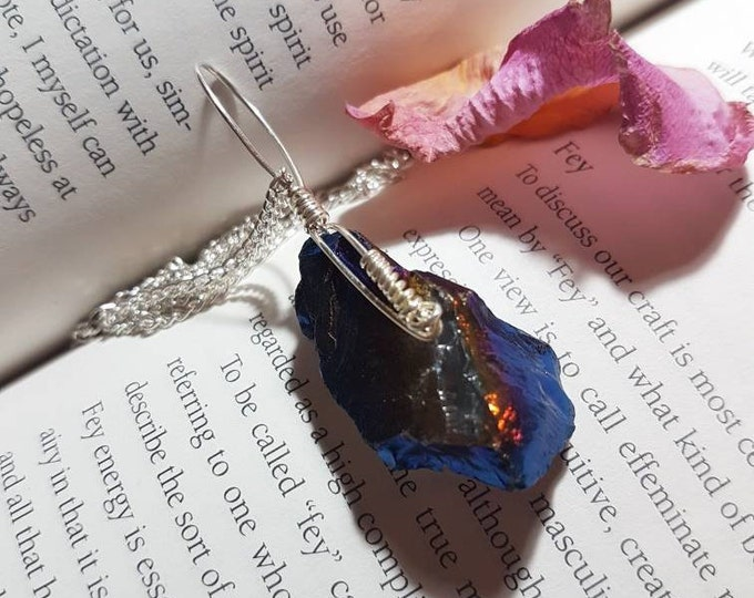 Flame Aura Quartz necklace - Crystal necklace - Flame Aura Quartz - Protection