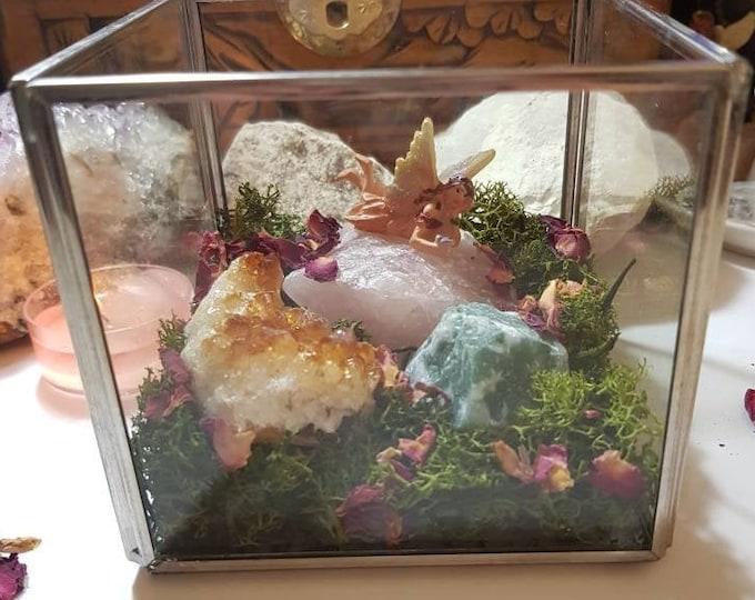 Crystal glass box - Fairy Garden - Crystal Garden - Crystal home ware - Crystal gift