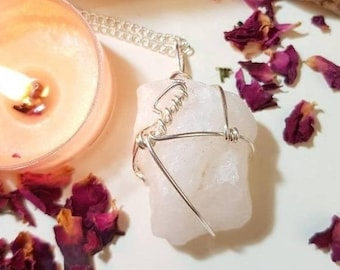 25% OFF Snow Quartz necklace - Snow Quartz - Crystal necklace - Calm