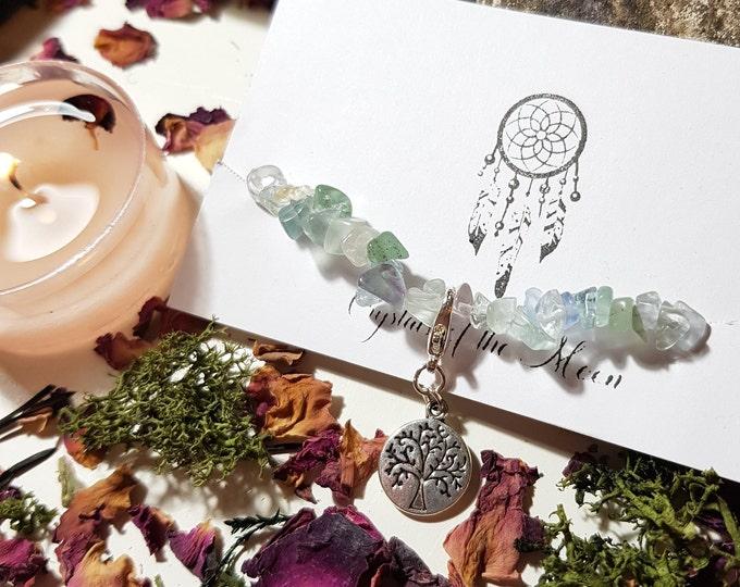 Small size Fluorite elastic tree bracelet