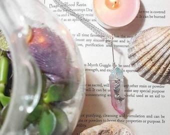 Mermaid Pastel Pink and Blue Quartz Necklace