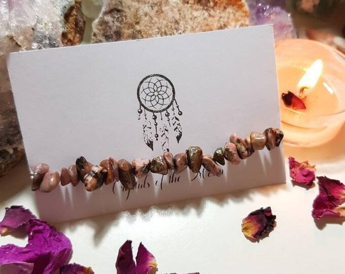 Rhodonite bracelet - Crystal bracelet - Rhodonite