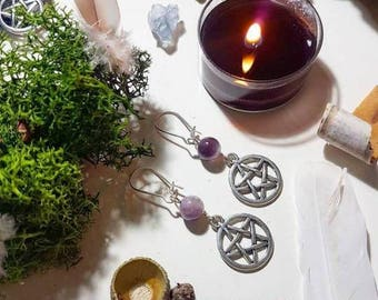 Witchy Amethyst and pentacle earrings