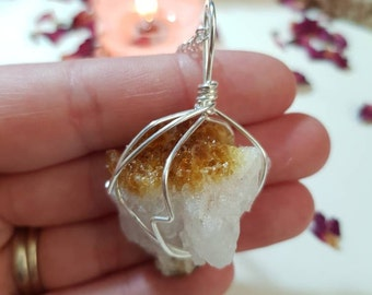 Citrine cluster necklace - Citrine - Crystal necklace - Crystals for happiness