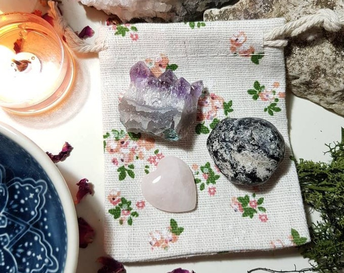 Crystals for grief - Grief - Crystal pouch - Apache tear - Gift for grief