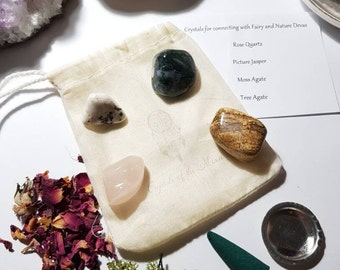 Crystals for connecting with Fairy's and Nature Devas - Crystal pouch - Crystal Set
