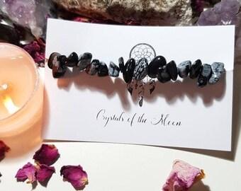 Snowflake Obsidian bracelet - Snowflake Obsidian - Crystal bracelet - Grounding - Balance