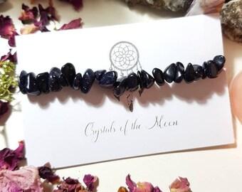 Blue Goldstone bracelet - Crystal bracelet - Blue Goldstone - Throat Chakra