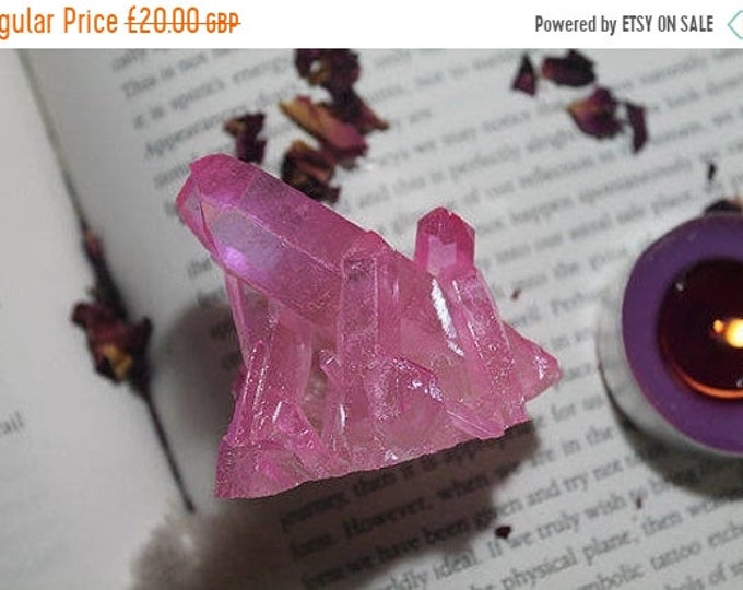 Pink Aura Quartz crystal cluster