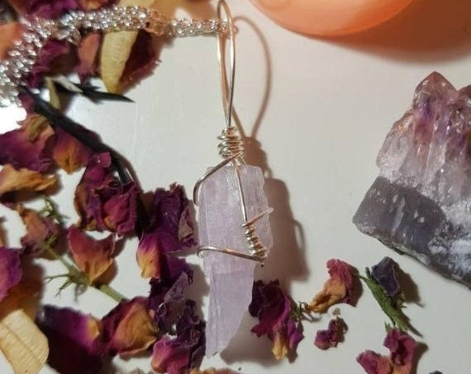 Wire wrapped Kunzite necklace