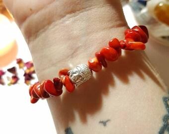 Root Chakra Bracelet - Red Coral bracelet - Buddha bracelet - Red Coral - Root chakra