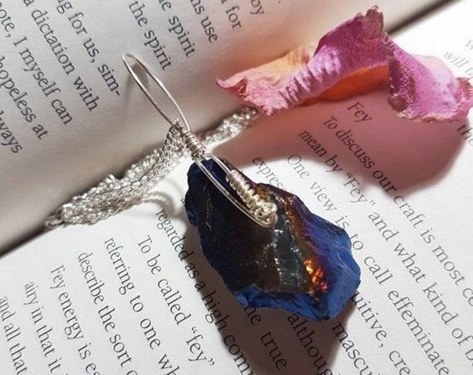 ON SALE Wire wrapped Flame Aura Quartz necklace. Wire wrapped necklace. Crystal necklace. Wire wrapped crystals. Aura Quartz necklace. Pagan