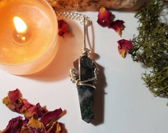 Moss Agate necklace - Crystal necklace - Fairy realm