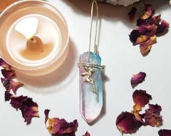 Pastel Aura Quartz pendant - Pastel jewelry - Aqua aura pendant - Fairy crystal pendant