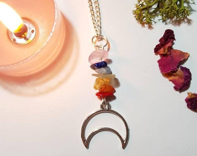 Chakra moon necklace - Yogi necklace - Bohemian Jewelry