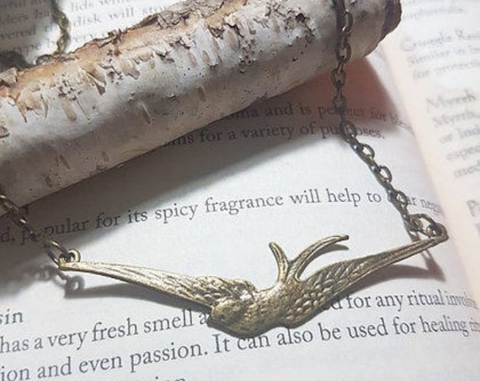 Vintage style Bronze swallow bird necklace