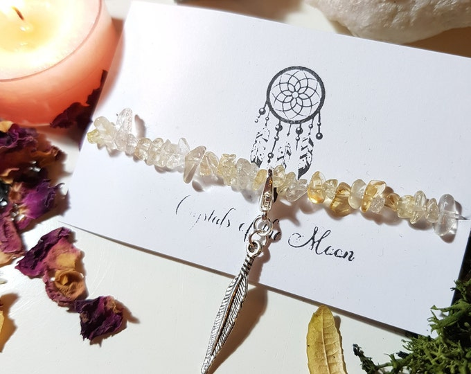Feather Citrine Chip bracelet