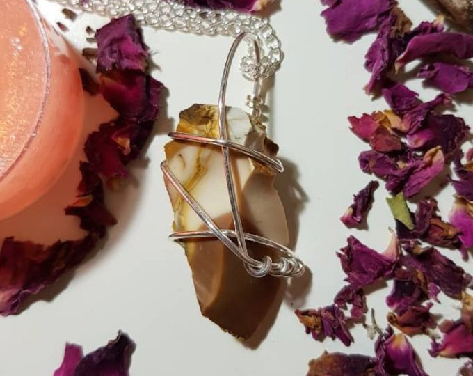 Wire wrapped Mookaite necklace