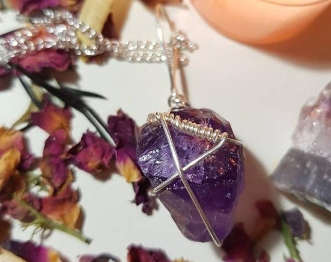 Raw Purple Fluorite crystal necklace