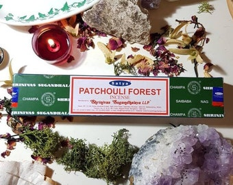 Box of fourteen Satya Patchouli Forest incense sticks