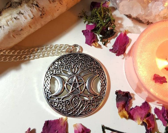 Pentacle tree of Life silver necklace