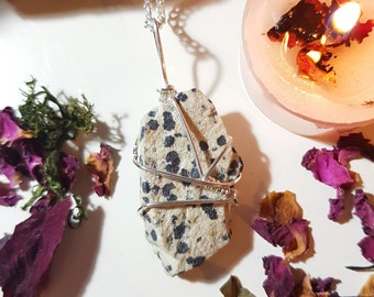 Raw Dalmatian stone necklace