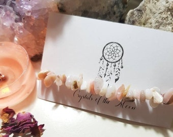 Peruvian pink Opal bracelet - Crystal bracelet - Peruvian Pink Opal