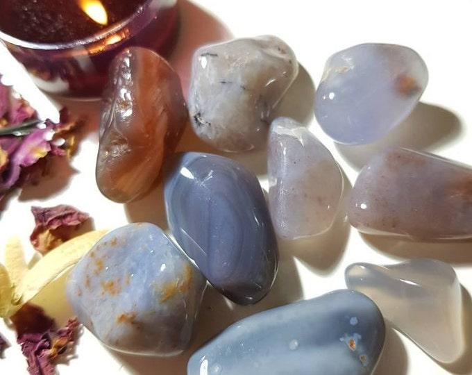 Blue Chalcedony tumble stone