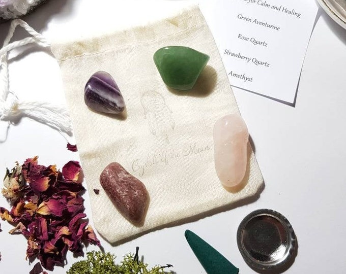 Crystals for Calm and Healing - Crystal pouch - Crystal Set - Reiki Infused