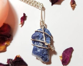 Blue dumortierite included Quartz necklace - Blue Dumortierite - Intellectual - Third Eye