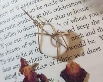 Wire wrapped Gomati Chakra Stone pendant