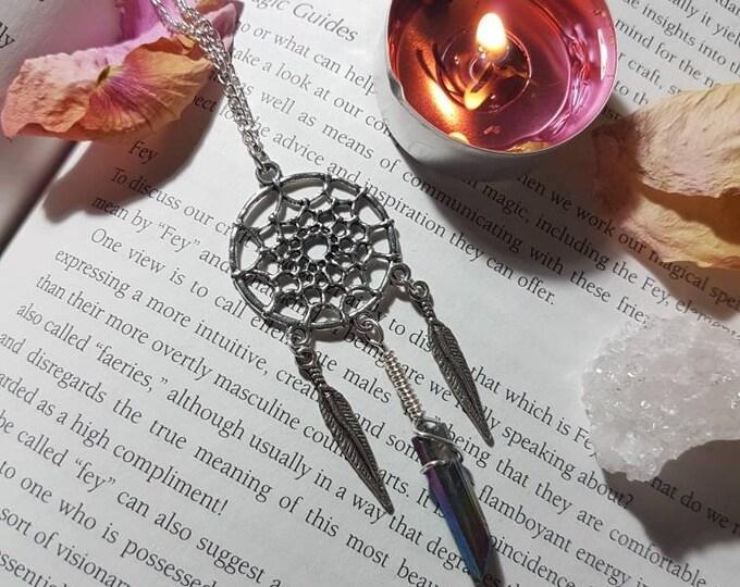Dream Catcher Flame Aura Quartz necklace