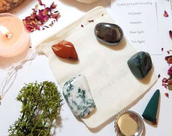 Crystals for Earth grounding - Crystal pouch - Crystal set - Reiki Infused