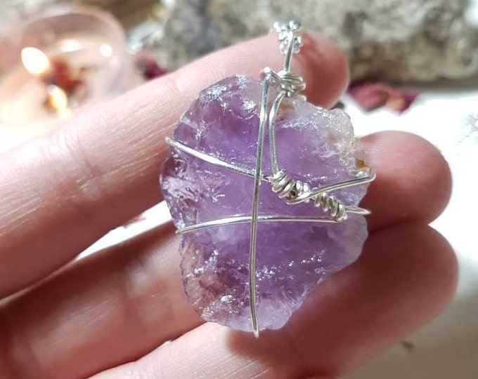Wire wrapped raw Amethyst necklace