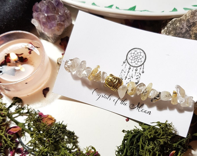 Rutilated Quartz Buddha bracelet
