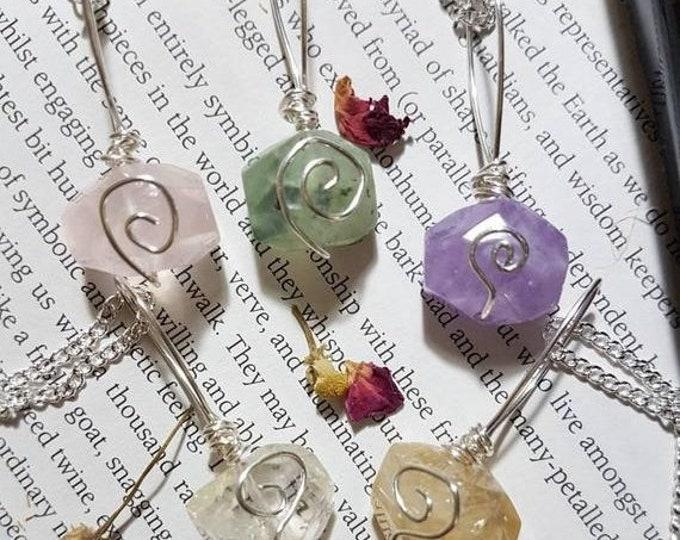 Crystal necklace ~ Choose from Quartz, Citrine, Prehnite, Rose Quartz or Amethyst