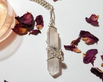 Long Sichuan Quartz necklace - Double terminated Quartz - Sichuan Quartz - Inclusions