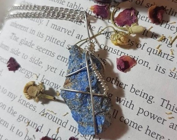 Raw Lapis Lazuli crystal wire wrapped necklace