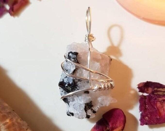 Black Tourmaline in Quartz pendant