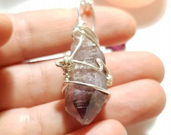Smoky Amethyst necklace - Amethyst - Rare crystals - Protection - Calm - Lemurian lines