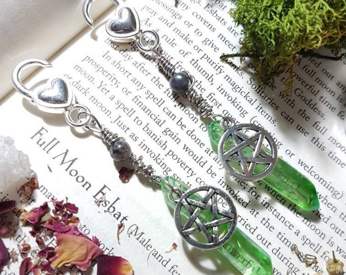 Apple Aura Quartz Pentacle ear weights with Larvikite beads